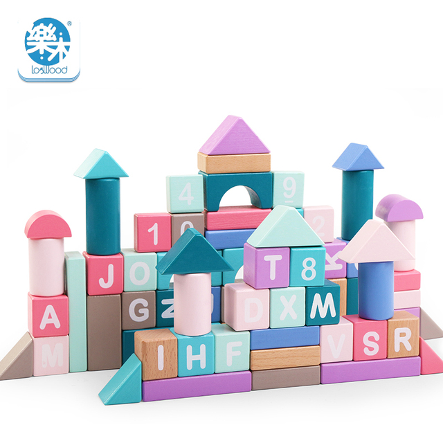 87PCS wooden kids colorful puzzle dream building toy macarons cute color Montessori early childhood education infant gift