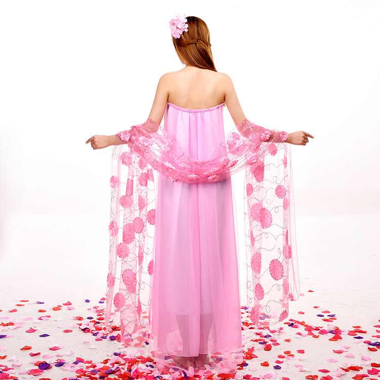 新しいデザインセクシーなダンスドレス中国のフォークダンス衣装ピンク韓服中国古代服妖精王女衣装