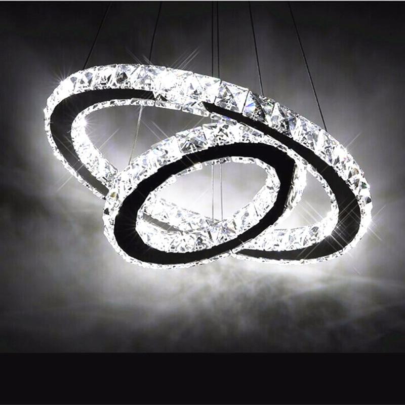 Contemporary Hot sale Diamond 2 Ring LED K9 Crystal LED Chandelier Light Modern Crtstal lamp Circles