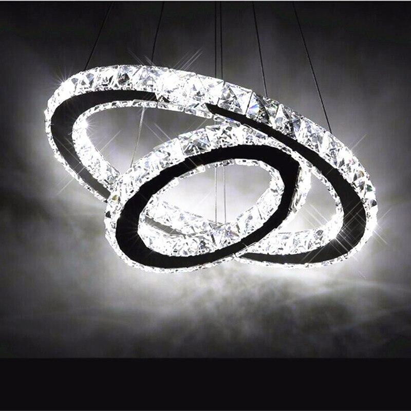 Contemporary Hot sale <font><b>Diamond</b></font> 2 Ring LED K9 Crystal LED Chandelier Light Modern Crtstal lamp Circles High-grade light