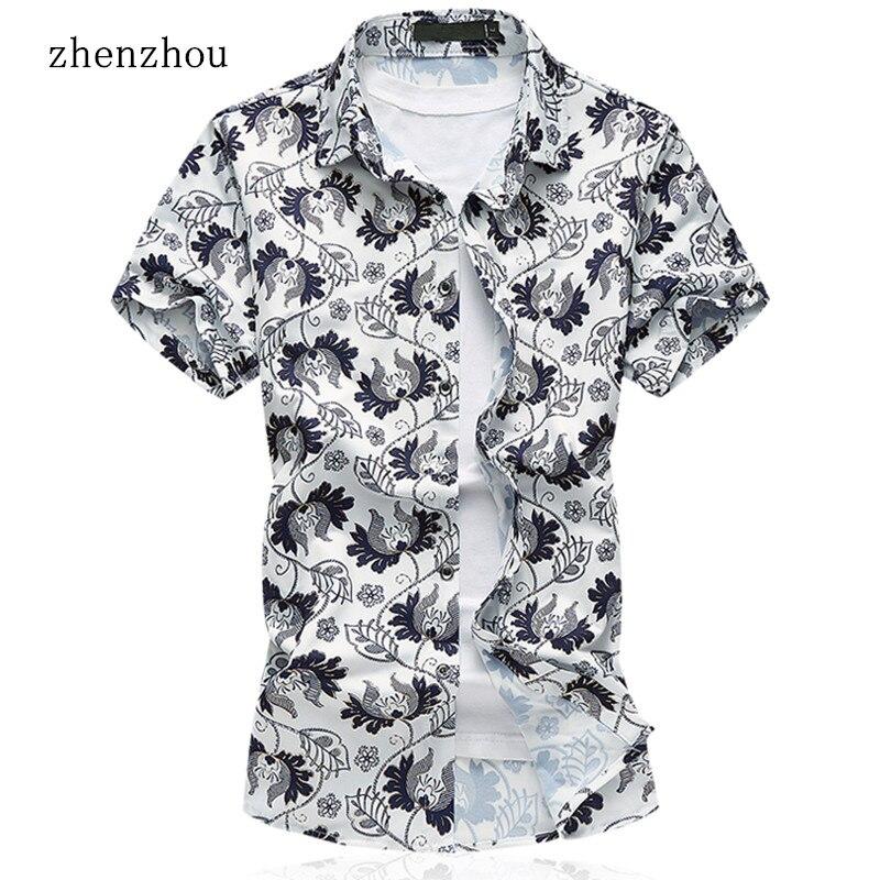 ZhenZhou M-7XL 남성 짧은 소매 셔츠 꽃 남성 의류 플러스 크기 브랜드 캐주얼 셔츠 남성 망 셔츠 짧은 소매