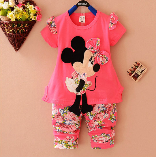 0d7b0235c Summer 2014 Cartoon Minnie mouse clothes suits Baby Girls shirt +small  calico short pants Cute Kids tracksuits flower set-in Clothing Sets from  Mother ...