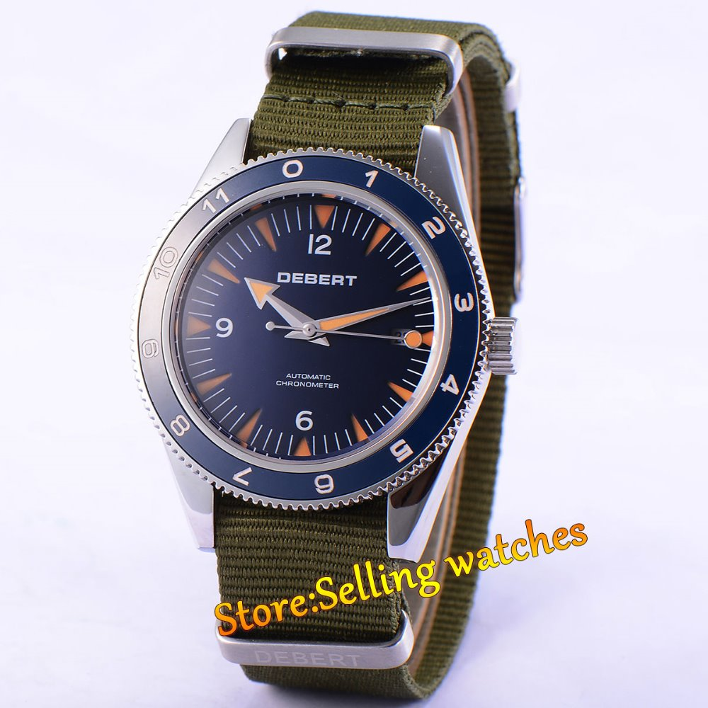 41mm debert blue dial ceramic bezel sapphire glass miyota Automatic mens Watch цена и фото