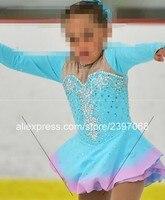 Дети фигурное катание платье Синий Обувь для девочек Фигурное катание юбка Дети конкуренции Катание на коньках Платья для женщин на заказ Б