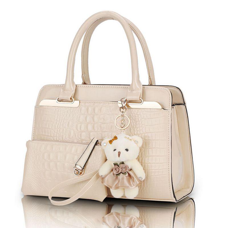 Fashion Patent Leather Women Shoulder Bags Elegant Alligator Pattern Women Messenger Bags bolsos 2 bags font