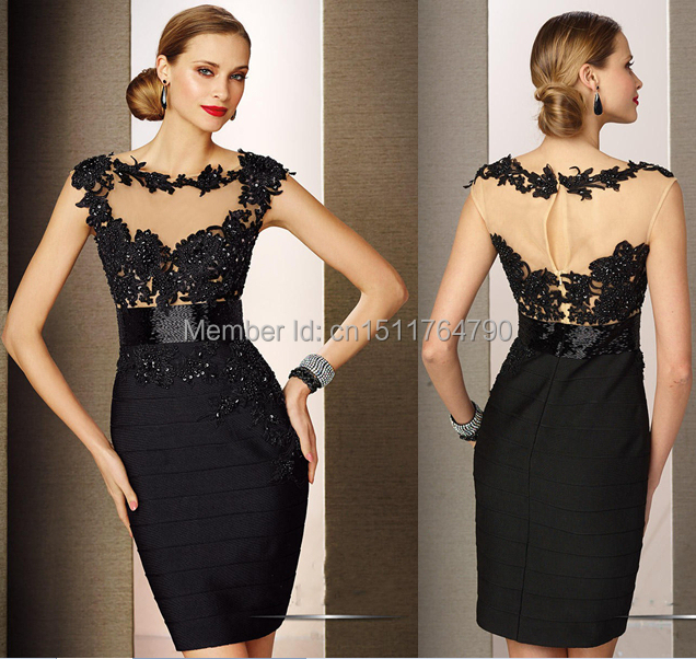 Classy Custom Made Satin Short Mini Black Lace Appliqued Women ...