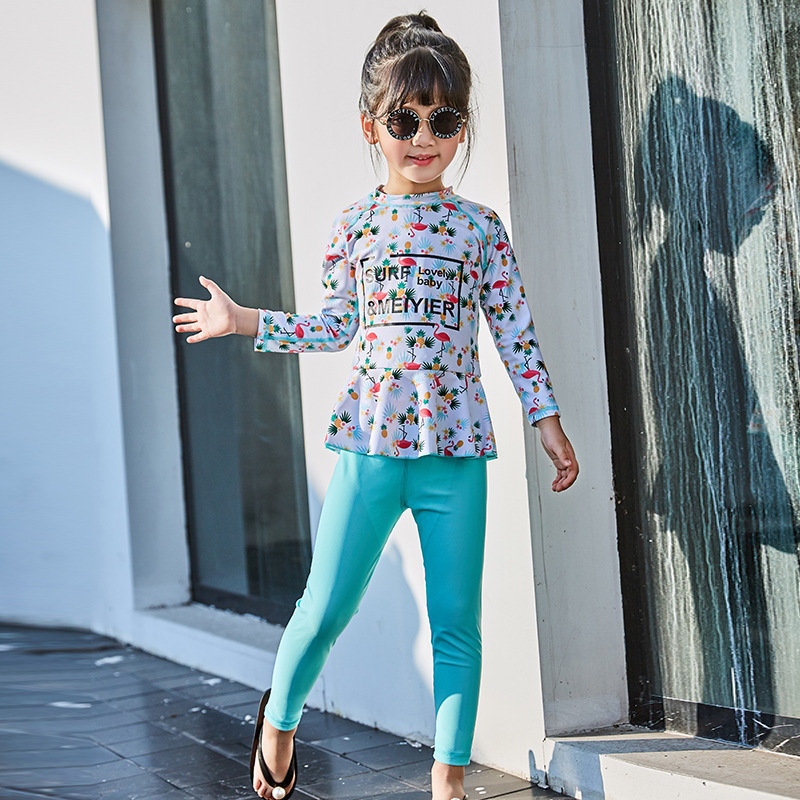 Swimsuit For Girls Kids 2019 Girl Swimming Suit Bathing Suits Children's Clothes Baby Long Sleeve Split Solid Swimwear 20192019