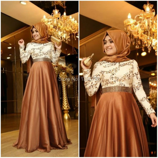Stunning Beading Lace Top Elastic Satin Hijab Arabic Evening Gowns ...