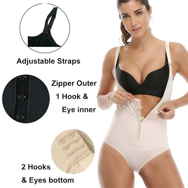 b6f340561c416 NINGMI Latex Shaper Bodysuit Women Postpartum Firm Control Thongs Full Body  Briefer Shapewear Model Stap Waist