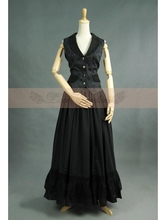 Black Gothic Two Piece Suit Women's Long Party Clothing