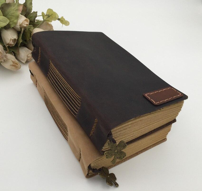 Vintage Handmade Leather Notebook Kraft Paper Blank Sketchbook Travel Diary Journal Writing Personalized