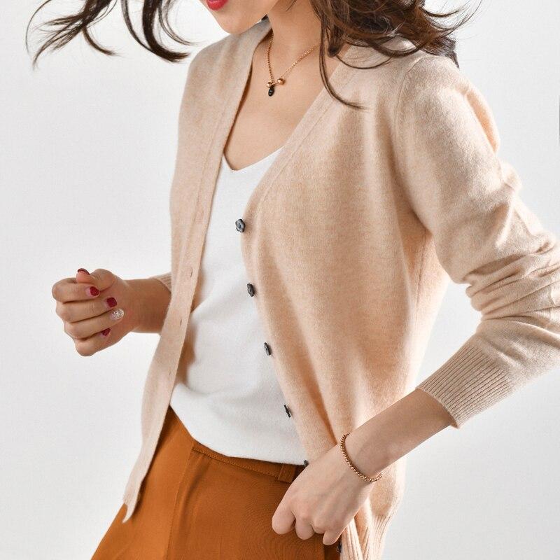 MVLYFLRT 2019 Spring and Autumn New Women's V neck Cardigan Short Long Sleeve Pure Wool Knitwear Wild Wear Underwear Sweater