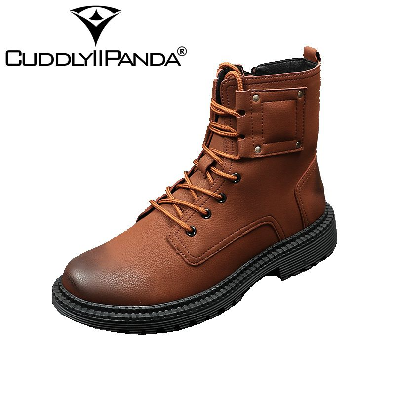 CUDDLYIIPANDA 2018 New Spring Autumn Top Quality Men Martin Boots Fashion Design Work Tooling Boots Ankle Boots Botas Hombre