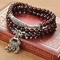 New style Fashion Jewelry Charm Cuff 6MM Natural Garnet Men Lock Bracelets & Bangles for Women Girls Best Gift Friend 40312