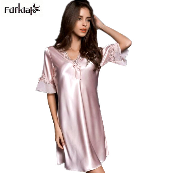Detail Feedback Questions about Ladies sleepwear nighties 2018 new sexy  silk nightgowns female plus size women summer dress nightdress negligees  A414 on ... 0235a29427e6