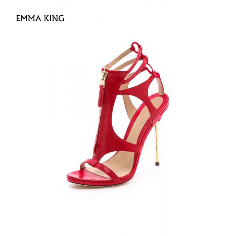 Red De En Or Soirée Mujer Cage Chaussures Sandales Rouge Robe D'été Sandalias Corail Femme La Taille Livraison Plus Stiletto Gratuite Talons qwRBg6X