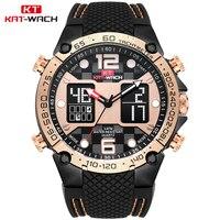KAT WACH Rose Gold Watch Best Digital Watch Gift For Men and Boyfriend, Silicone Waterproof Band Big Face 51mm Men Watch Relogio