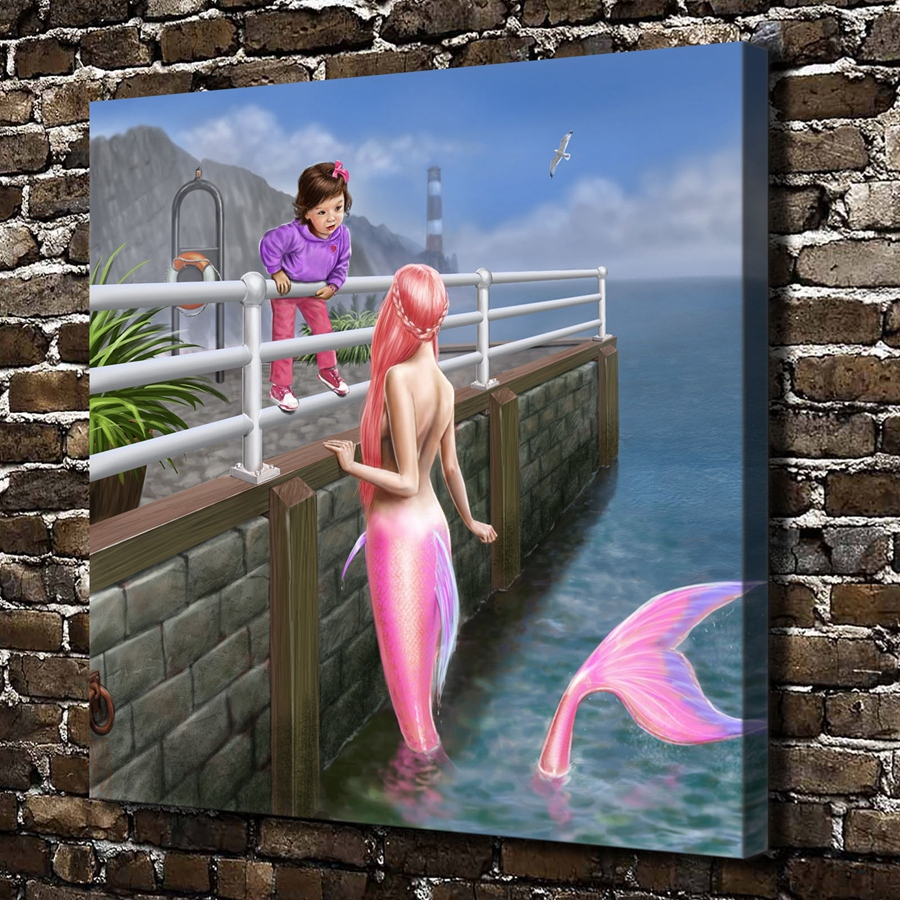 Z104 Sexy Girl Mermaid Children Figures Scenery. Hd Canvas Print Home Decoration Living Room