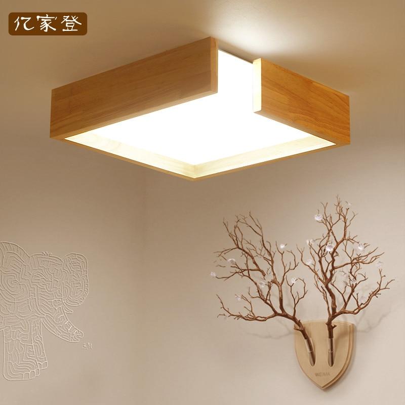 Скандинавская Япония квадратная твердая деревянная рамка светодиодные потолочные светильники luminarias para sala столовая спальня кухня потолочн