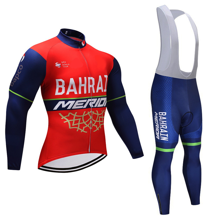 Red Bahrain Cycling team JERSEY Bike Pants set mens Ropa Ciclismo summer Bicycle clothing Long sleeve Cycling wear Maillot laete n02 119 4