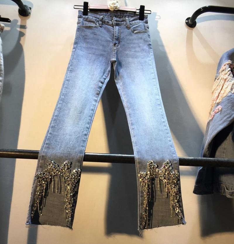 Diamant Jeans femme 2019 printemps été nouveau pied main clouté perceuse strass taille haute Slim petit pied Jeans crayon pantalon fille