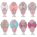 10pcs Strass 3d nail bow tie crystal ab pearl nail art decoration metal charms jewelry for nails Y153~160