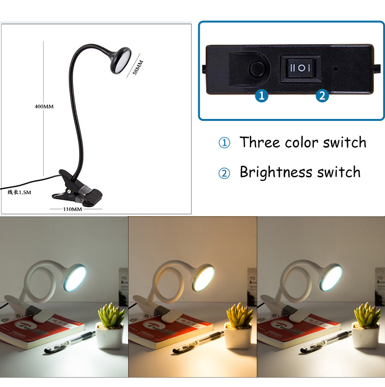 Energy-Efficient LED Clamp Lamp Reading Light Flexible LED Book Table Desk Lamp Clip On Night Light Bed Room Bulb 3 Color