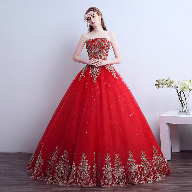 2018 Free Shipping Vintage Lace Red High end Dresses Long Train Plus Size Bridal Ball Gown Robe de Mariee Cheap size S 2XL