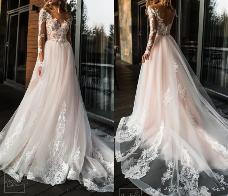 2019 Sexy Illusion Back A-line Long V-neck Appliques Illusion Back Boho Wedding Dress Gown Sofuge Vestido De Noiva Wedding Dresses