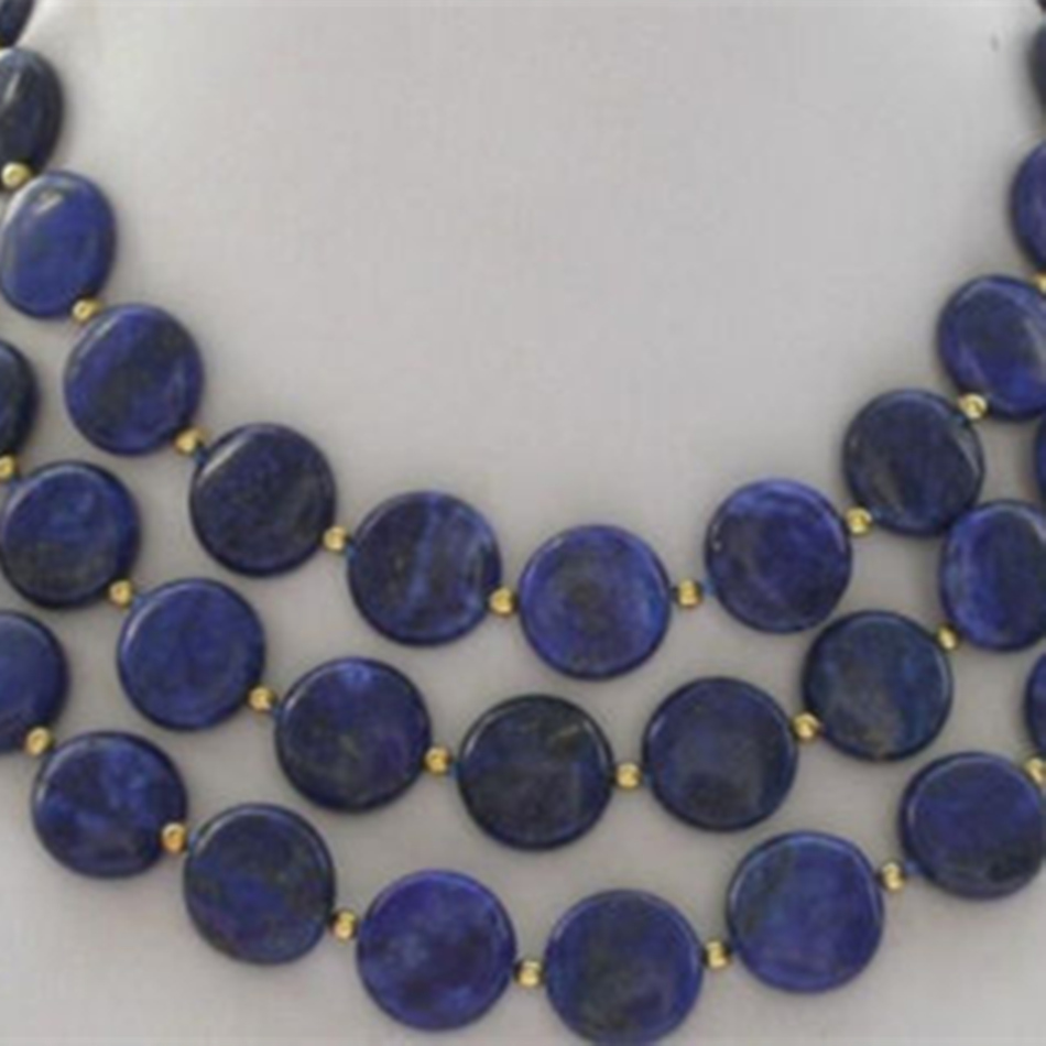 Charming 12mm lovely coin natural blue lapis lazuli stone beads diy Fashion long chain necklace for women jewelry 5inch BV346