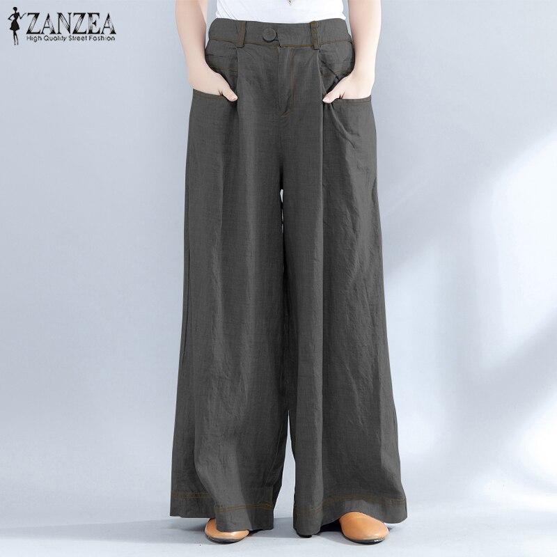 2019 Fashion ZANZEA Women Casual High Waist Pockets   Wide     Leg     Pants   Vintage Solid Loose Pantalon Long Baggy Work Office Trousers