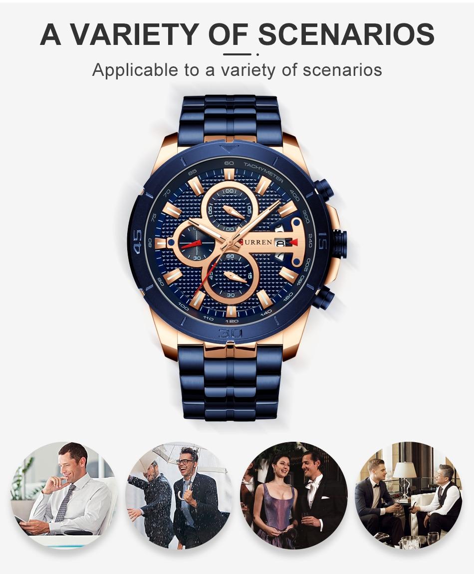 HTB1FwsnUZfpK1RjSZFOq6y6nFXa7 CURREN Business Men Watch Luxury Brand Stainless Steel Wrist Watch Chronograph Army Military Quartz Watches Relogio Masculino