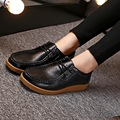Spring new leather soft bottom flat mom shoes lace slip casual shoes women's singles