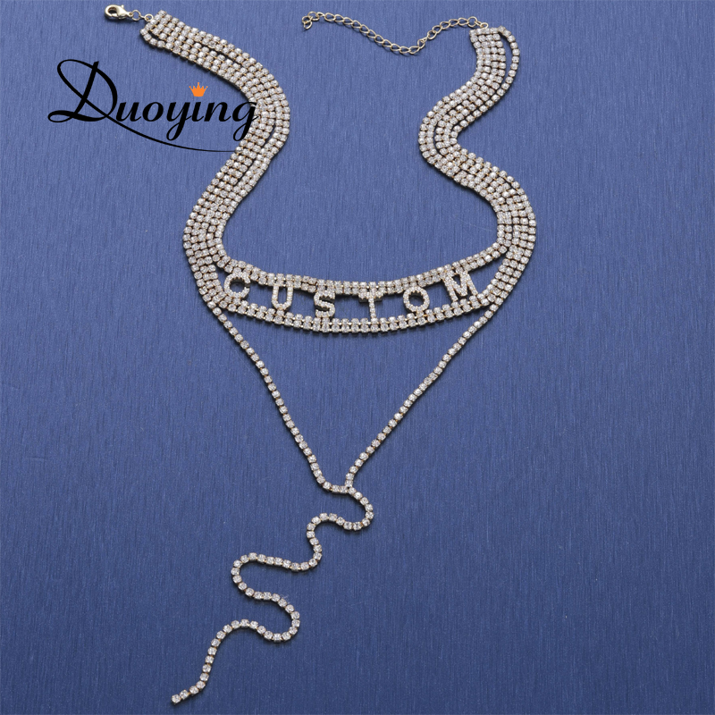 Duoying Crystal Chain Personalized Chokers Necklace with Zircon stone letter