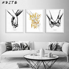 Couple Holding Hand Canvas Nordic Poster Print Romantic Anniversary Gift Wall Art Decorative Picture Painting Living Room Decor(China)