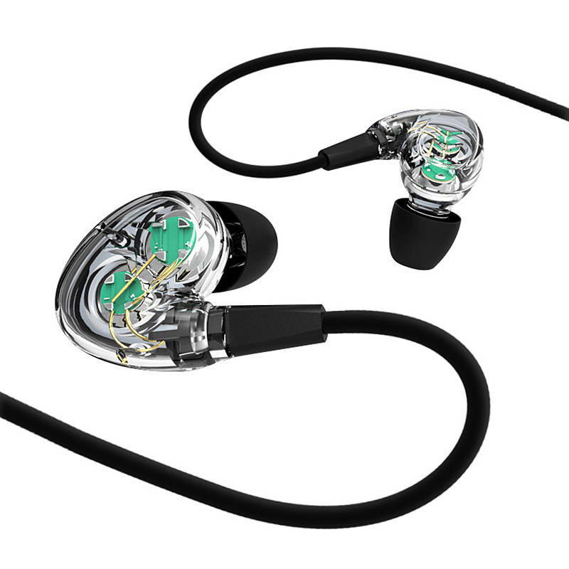 RUKZ Z03 Dual Dynamic Speaker Sport Earphones with Mic for Mobile Phone Stereophone Transparent Headset Bass Music Earpieces