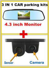 Car Rearview Reverse Camera with Parking Sensor alarm radar system assistance+4.3″ Auto Vehicle Rearview Reverse Mirror Monitor