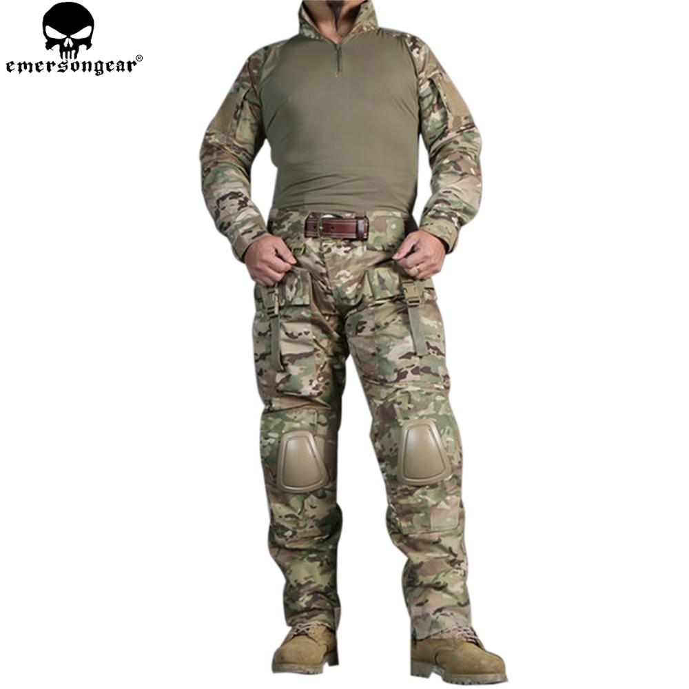 EMERSONGEAR Combat Uniform Frog Suit Tactical Military Shirt Pants With Knee Pads Elbow Pads Airsoft Pants Multicam Suit EM2711 new emersongear tactical woman g3 combat uniform pants