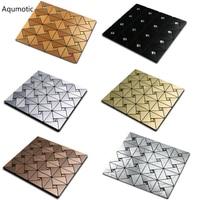 Aqumotic Mosaic Wall Sticker 30 30cm Metal Color With Adhesive Villa Indoor Renovation Diamond Stickers For
