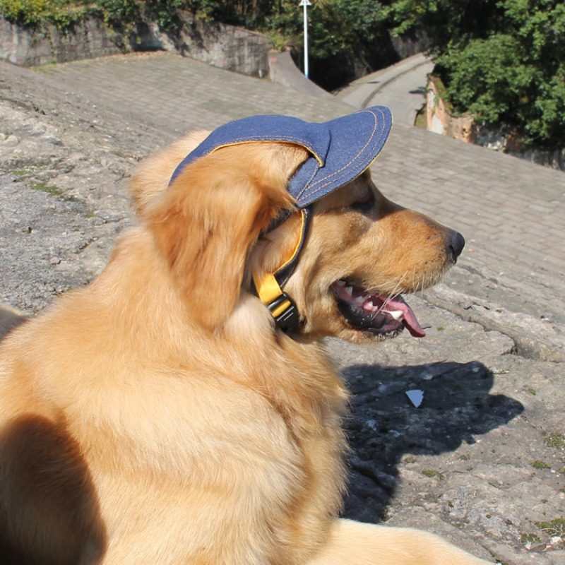 Breathable Baseball Dog Caps Cowboy Jean Pet Dog Hats Large Dogs Sports Sun Hats Size Adjustable Pet Supplies for Outdoor Travel