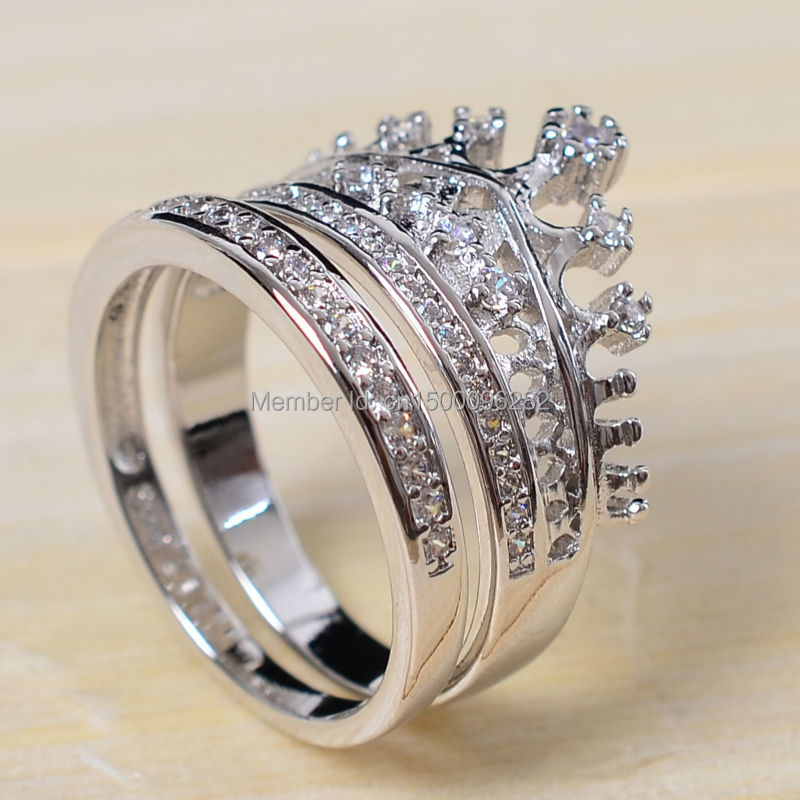 sz 5 10 top 925 sterling silver filled zirconia cz crown princess wedding ring set - Crown Wedding Rings