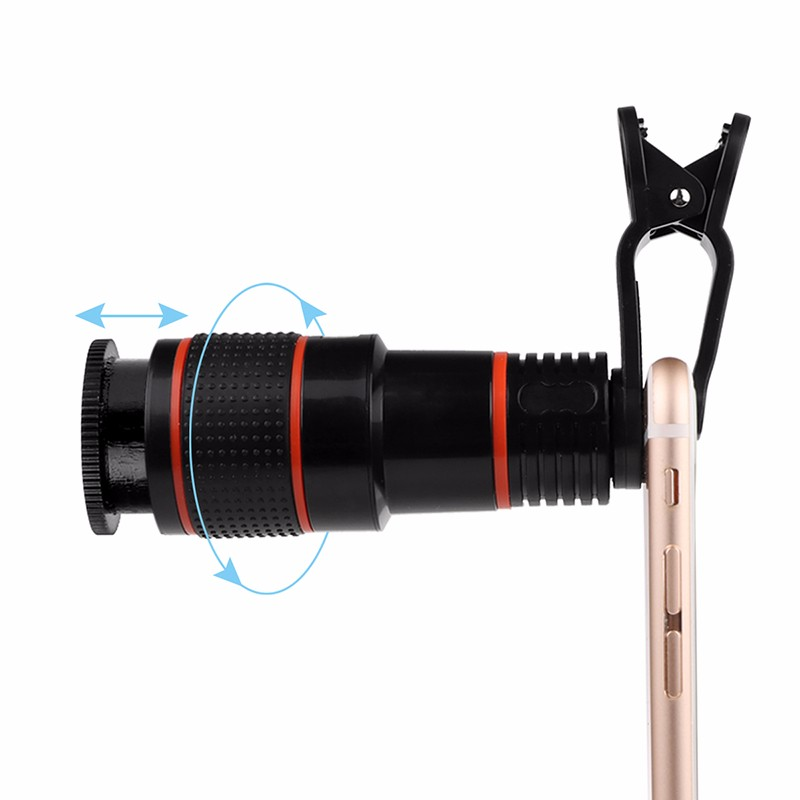 Clip-on 12x Optical Zoom Mobile Phone Telescope Lens HD Telescope Camera Lens For Universal Phones black one size 14