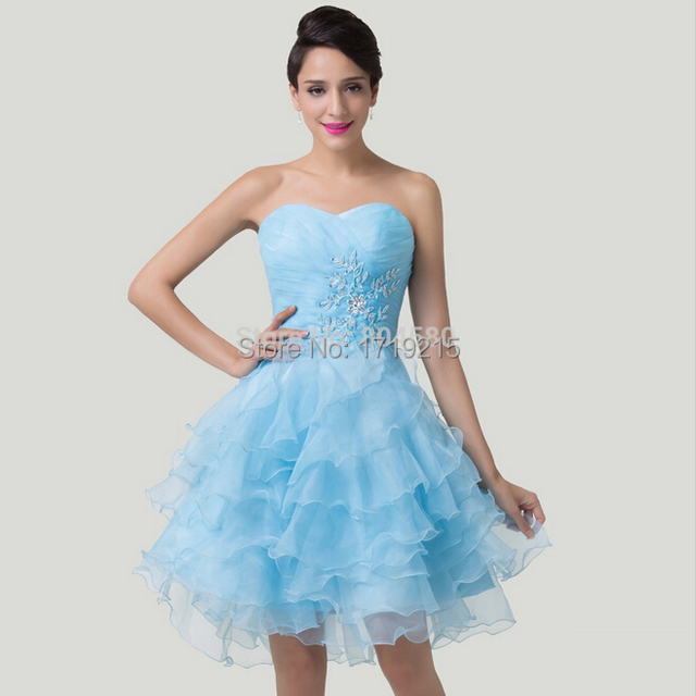 Modest Layers Short Designer Gown dress Blue Homecoming Dance Party ...