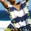 Пляж Платье Кимоно Парео Женщины Femme Ete Лето Одеяние Plage de Playa Plaj Elbiseleri Полосатый Белый Синий Халат Платье
