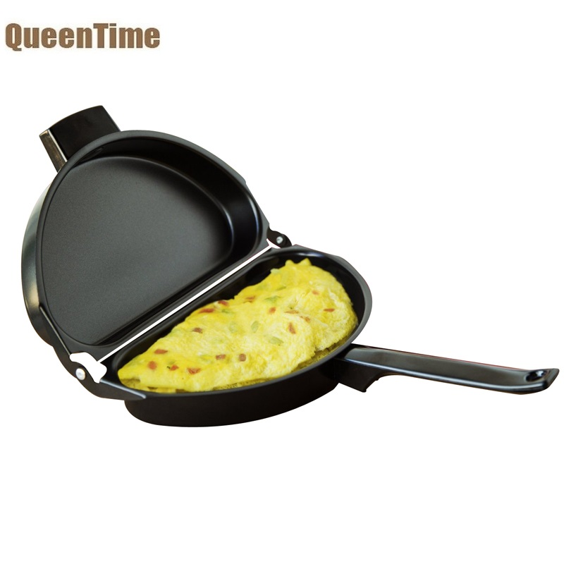 QueenTime Stainless Steel Omelette Pan Non-stick Fried Egg Pan Griddles & Grill Pans Gas Induction Frying Pan Cooking Tools