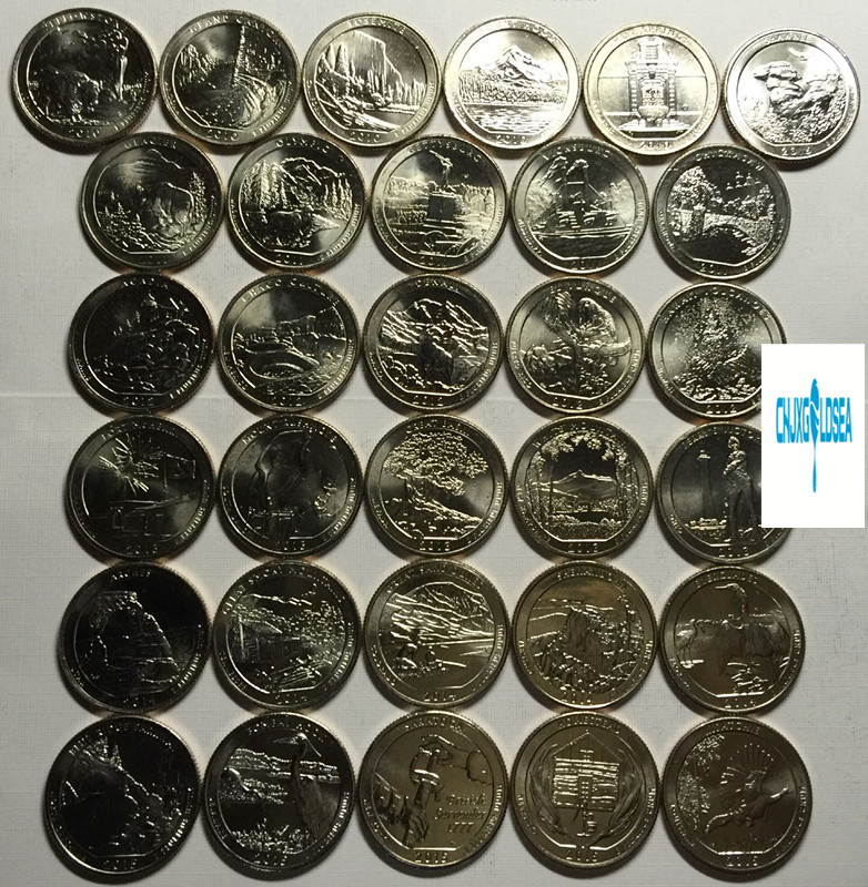 47pcs American National Park 25 cents Commemorative coins 2010 2019 gift present coin original Not circulated