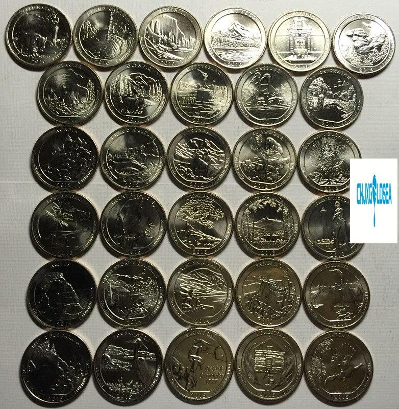 47pcs Amerikaanse Nationale Park 25 cent herdenkingsmunten 2010 2019 gift present coin originele Niet verspreid-in Non-valuta Munten van Huis & Tuin op  Groep 1