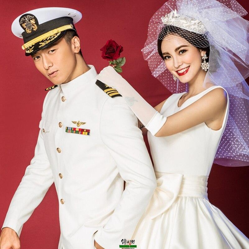 Costume de mariage officier armée fan collection US marine uniforme ensemble blanc performance cosplay costume mâle militaire hommes formel ware