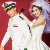 Officer's wedding suit army fan collection US navy uniform set white performance cosplay costume male military men's formal ware