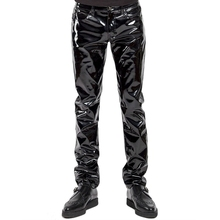Plus Size Men Sexy Black Wetlook Faux Leather Lingerie Exotic Pants PU Latex Catsuit Zipper PVC Stage Clubwear gay fetish